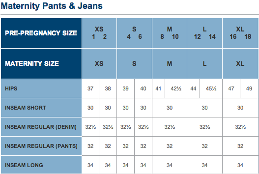Motherhood Closet Old Navy Size Chart